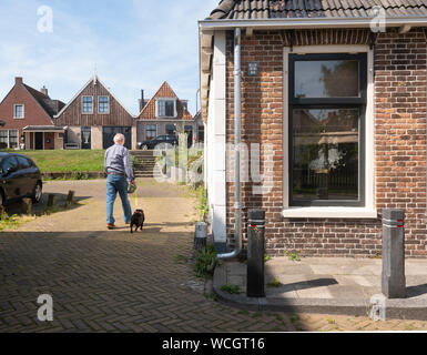 man walks dog near old dyke houses in village of makkum - Stock Photo