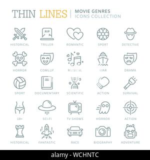 Collection of movie genres thin line icons - Stock Photo