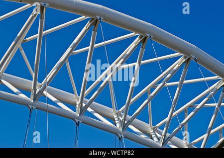 Detail of the iconic Garbatella Bridge, modern architecture in Rome, Italy - Stock Photo