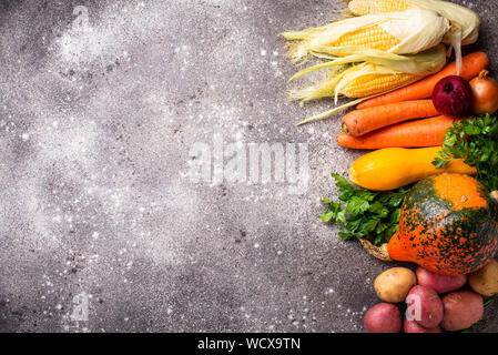 Various autumn vegetables. Harvest concept - Stock Photo