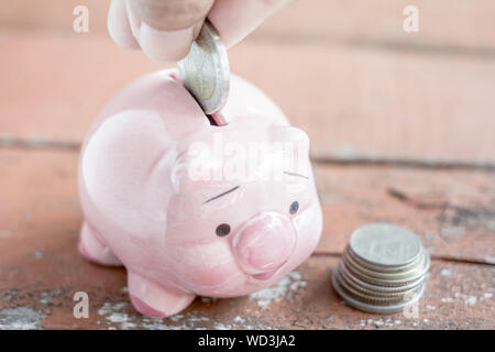 Male hand putting money In Piggy Bank, Saving money concept. - Stock Photo