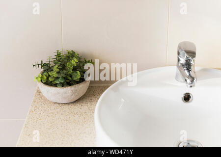 Minimal home bathroom sink and plastic plant decor. - Stock Photo