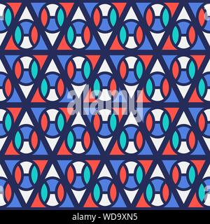 Seamless pattern with geometric shapes, colorful illustration, eps10. Clipping mask applied. - Stock Photo