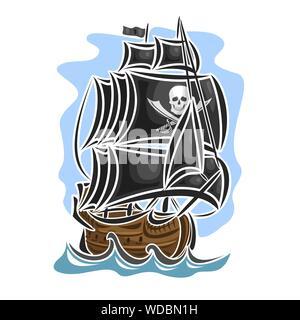 Vector logo of pirate cartoon sailing ship, front view. - Stock Photo