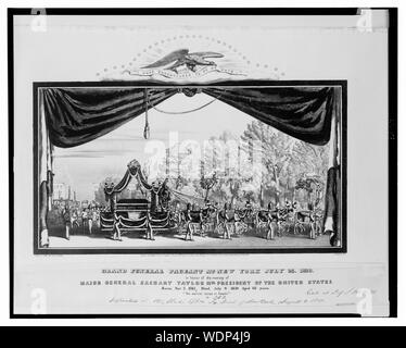 Grand funeral pageant at New York July 23, 1850, in honor of the memory of Major General Zachary Taylor 12th president of the United States Abstract: Print showing funeral procession for Zachary Taylor, with coffin on elaborately decorated wagon, seen through curtains, perhaps on a stage eagle above bears banner, I have endeavored to do my duty. - Stock Photo