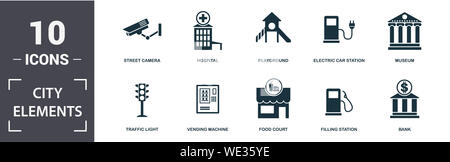 City Elements icon set. Contain filled flat vending machine, bicycle parking, filling station, playground, museum, leisure park icons. Editable format - Stock Photo