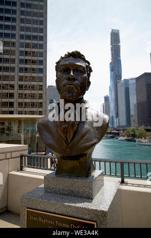 bust of jean-baptiste pointe dusable discoverer of chicago illinois united states of america - Stock Photo