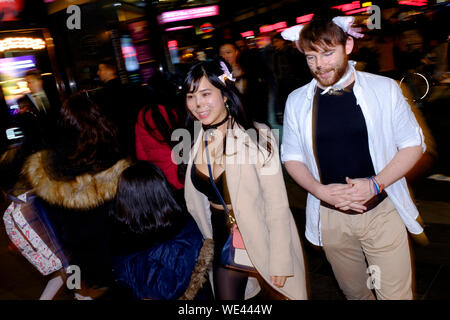 People celebrating, Halloween, Leicester Square, London, Britain.  31 Oct 2017 - Stock Photo