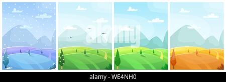 Set of seasonal flat vector cartoon landscape. Fields with trees and mountains in the background. Sky with clouds. Four seasons - Stock Photo