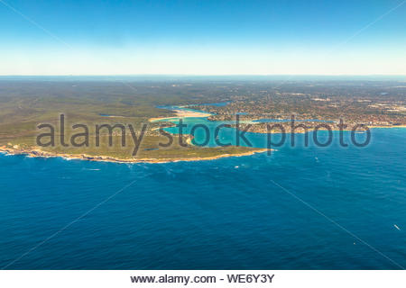 Aerial view of Bate Bay located south of Sydney, New South Wales, in eastern Australia. The bay is south of the Kurnell peninsula and its foreshore ma - Stock Photo