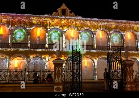 Mexico, Campeche state, Campeche, fortified city listed as World Heritage by UNESCO, town hall facade by night - Stock Photo
