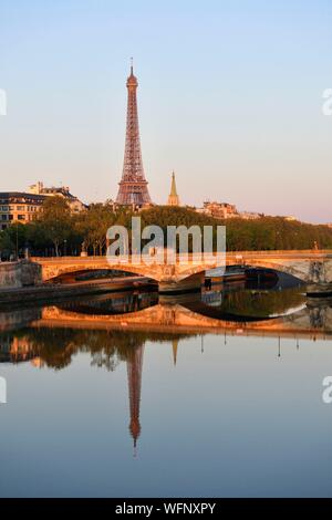 France, Paris, area listed as World Heritage by UNESCO, the banks of the Seine river and the Eiffel Tower on the background - Stock Photo