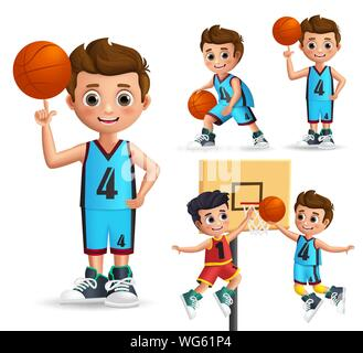Kids character playing basketball vector set. Young school boy wearing basketball uniform doing different poses and ball tricks isolated in white - Stock Photo