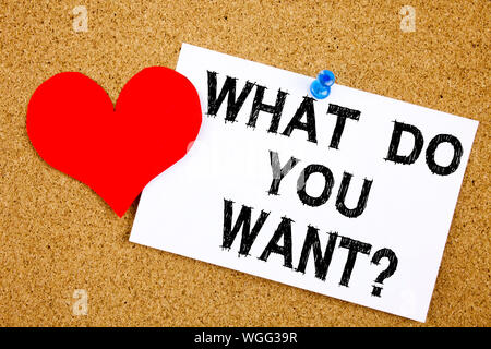 Conceptual hand writing text caption inspiration showing What Do You Want. Business concept for Asking Opportunity Development Questions Love written - Stock Photo