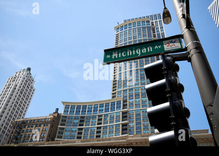 street sign for north michigan avenue in front of the heritage at millennium park building chicago illinois united states of america - Stock Photo
