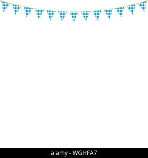 Bavarian flags decoration postcards for oktoberfest party - Stock Photo