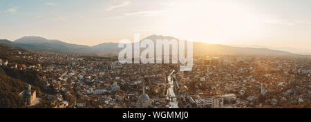 panoramic view of old and cultural city of Prizren, Kosovo in the evening sunshine - Stock Photo