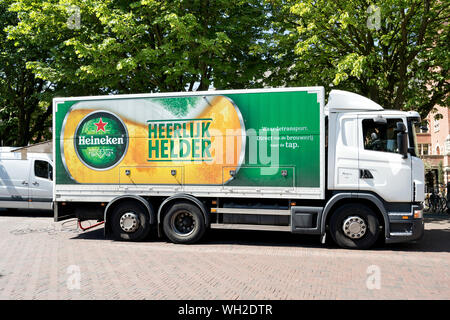 Heineken truck. Heineken N.V. is the number one brewer in Europe and one of the largest brewers by volume in the world. - Stock Photo