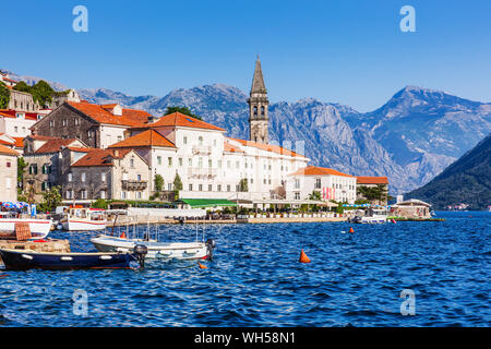 Perast, Montenegro. View of the historic town of Perast at the Bay of Kotor. - Stock Photo