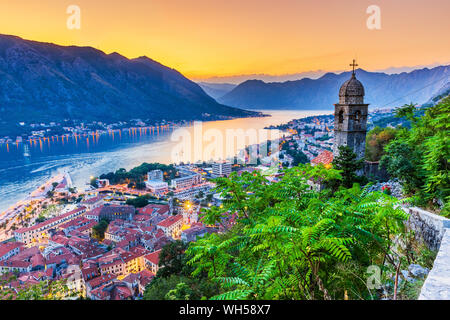 Kotor, Montenegro. Aerial view of Kotor Bay and Old Town at sunset. - Stock Photo