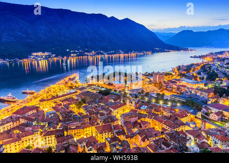 Kotor, Montenegro. Aerial view of Kotor Bay and Old Town at night. - Stock Photo