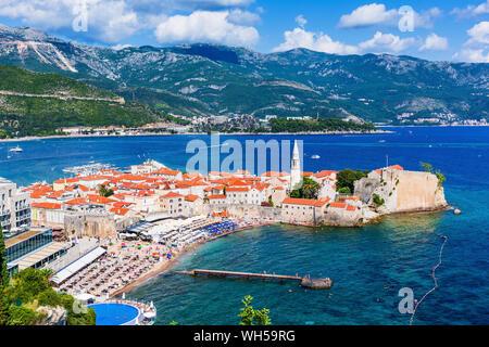 Budva, Montenegro. Panoramic view of old town. - Stock Photo