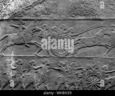 Carriages of Antiquity. The Elamite army hasten into battle. . Seventh century BC. From Encyclopedia of the Horse page 100. - Stock Photo