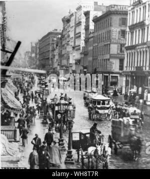 Broadway looking north from near Spring Street  photograph by Mathew Brady 1867 New York - Stock Photo