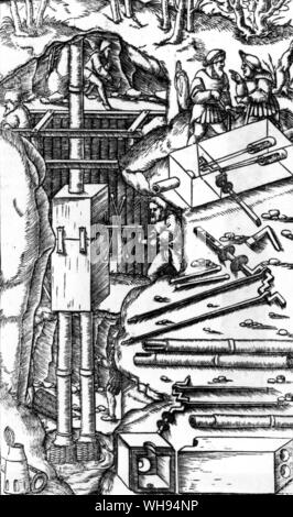 An engraving from De Re Metallica by Georg Agricola shows a piston pump for extracting water from mines.  Crankshafts and connecting rods lie alongsid - Stock Photo