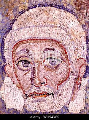 Peter Mosaic by Melozzo da Forli 1480 from the choir of Sixtus IV in the old basilica. The surviving mosaics from the Constantinian basilica are now p - Stock Photo