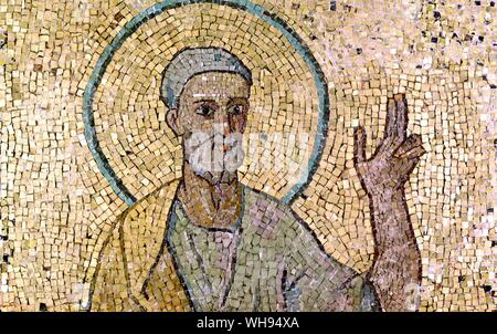 Mosaics from the old basilica Peter preaching to the Romans from the oratory of St John VII - Stock Photo