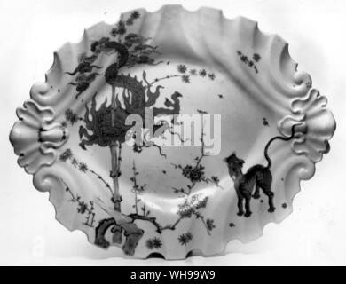 Chelsea 'red anchor' dish copying the Kaklemon design on illus. 77 (now called the Jabberwocky pattern) on a shape derived from silver - Stock Photo
