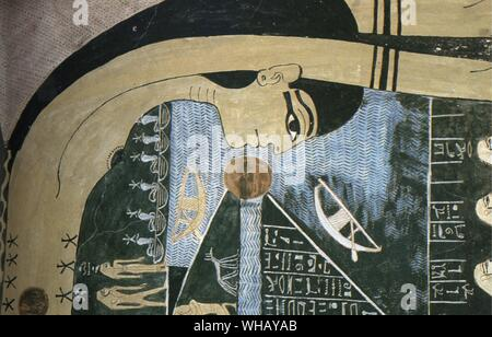 The Goddess Nut from the burial chambers of the tomb of Ramesses VI (1145 BC - 1137BC). Valley of the Kings by John Romer, page 117. - Stock Photo