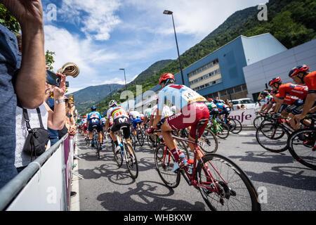 Andorra la Vella, Andorra. September 2019: Cyclists of the Vuelta de Espana just after the beginning of the race - Stock Photo