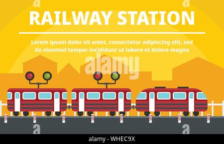 City railway station concept banner. Flat illustration of city railway station vector concept banner for web design - Stock Photo
