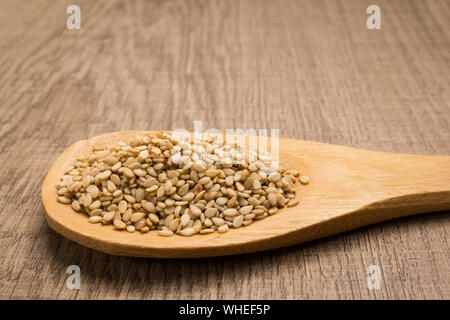 Sesamum indicum is scientific name of Sesame. Also known as Gergelim (portuguese) and Sesamo (spanish). Grains in wooden spoon. Rustic. - Stock Photo