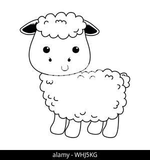 Sheep cartoon design, Animal cute zoo life nature and fauna theme Vector illustration - Stock Photo