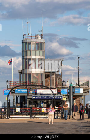 RNLI Lifeboat station on Southend Pier, which is a major landmark in Southend on Sea, Essex in the Thames Estuary. Visitor attraction. Space for copy - Stock Photo