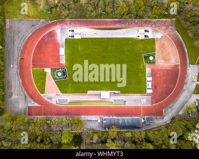 Running athletic competition track complex from above - Stock Photo