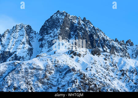The beautiful snow covered mountains around Passo Tonale in winter, Italy. - Stock Photo