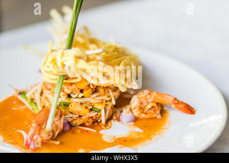 Thai Fried Noodles 'Pad Thai' with shrimp and vegetables - Stock Photo