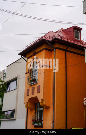 Post communist decay, dilapidated building deterioration, Bucharest Romania - Stock Photo