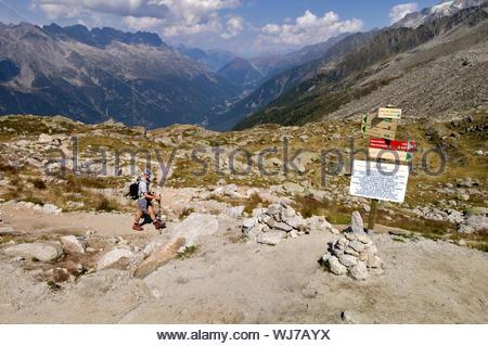 Hiker, Plan de l'Aiguille, Chamonix, France - Stock Photo
