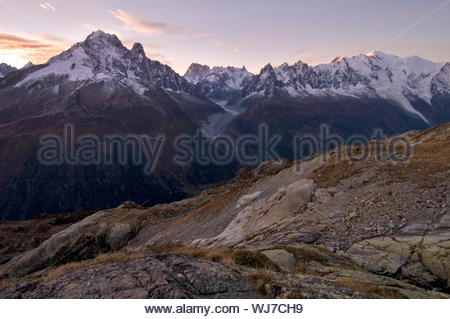 Mont Blanc massif at dawn, Lac Blanc, Chamonix, France - Stock Photo
