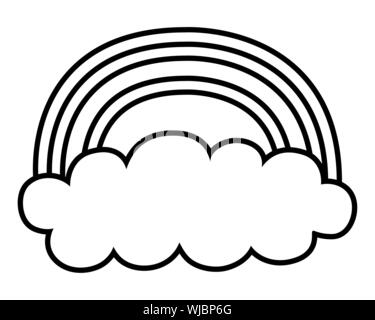 Rainbow and cloud design, Weather climate time report meteorology sky and nature theme Vector illustration - Stock Photo