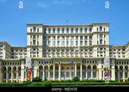 The Palace of the Parliament is the second largest administrative building in the world. Bucharest, Romania - Stock Photo
