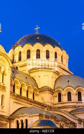 Saint Alexander Nevsky Cathedral at dusk, Sofia. Bulgaria - Stock Photo