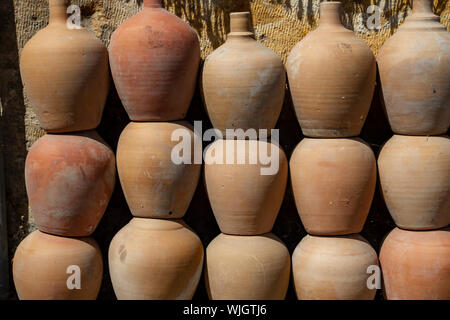 Old clay vase and jugs - Stock Photo