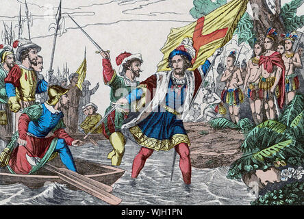 CHRISTOPHER COLUMBUS lands in the Bahamas as shown in a 1930s French illustration - Stock Photo