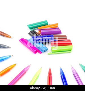colorful pens isolated on white background - Stock Photo